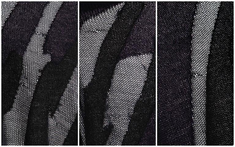 DONNA KARAN c.1990's Cashmere Silk Knit Dark Purple Black Plunge Back Maxi Dress For Sale 4