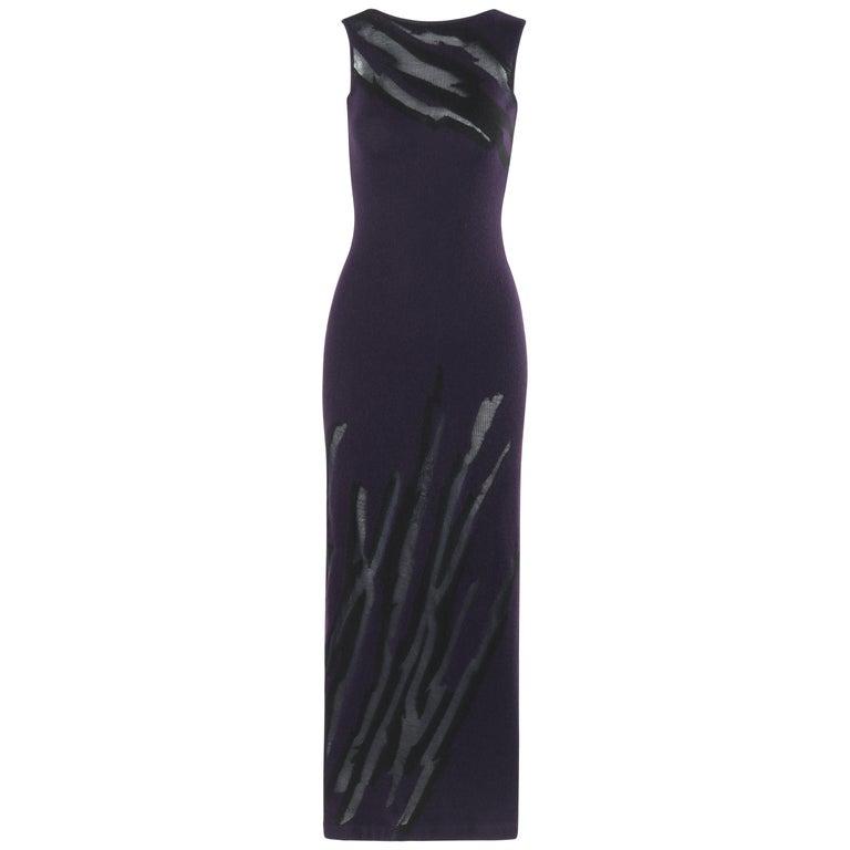 DONNA KARAN c.1990's Cashmere Silk Knit Dark Purple Black Plunge Back Maxi Dress For Sale