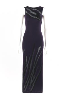DONNA KARAN c.1990's Cashmere Silk Knit Dark Purple Black Plunge Back Maxi Dress