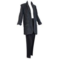 Donna Karan Charcoal Teddy Bear Cashmere and Alpaca Hi Waist Pant Suit-M, 1990s