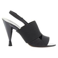DONNA KARAN Collection black multi nylon spandex slingback sculpt hi-heel sandal
