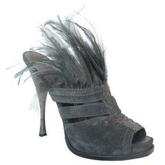 Donna Karan Collection Charcoal Suede, Snake Skin, & Feather Slide Heels - 41