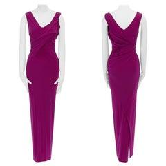 DONNA KARAN fuscia pink viscose wrapped draped bodycon evening gown dress XS