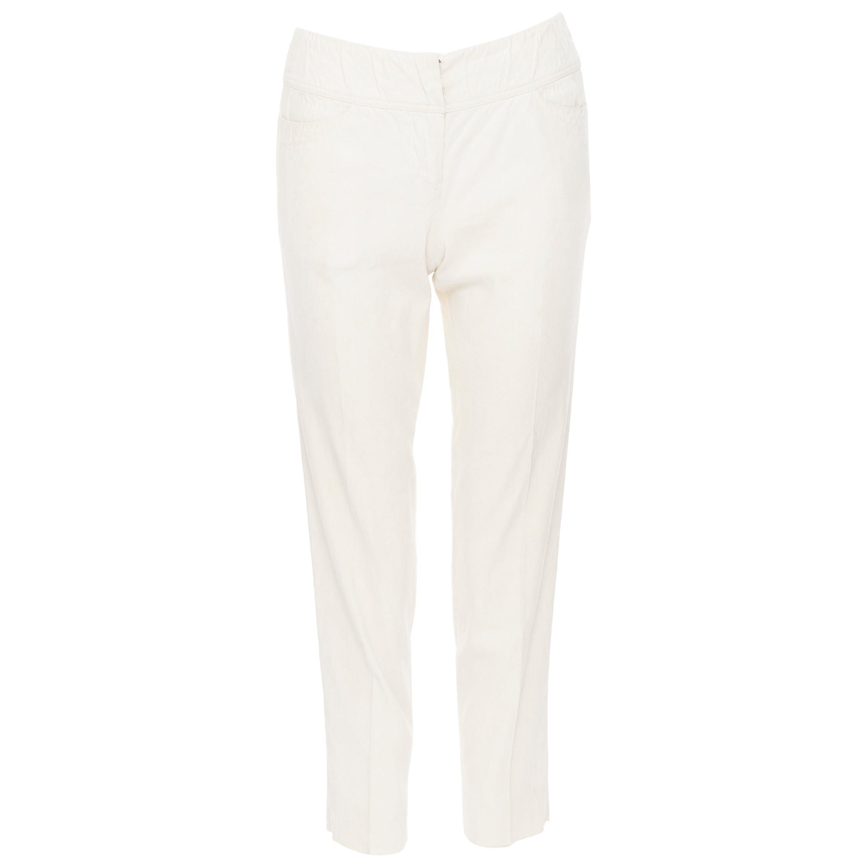 "DONNA KARAN linen blend dual pocket thick waist band slim pants US2 27"""