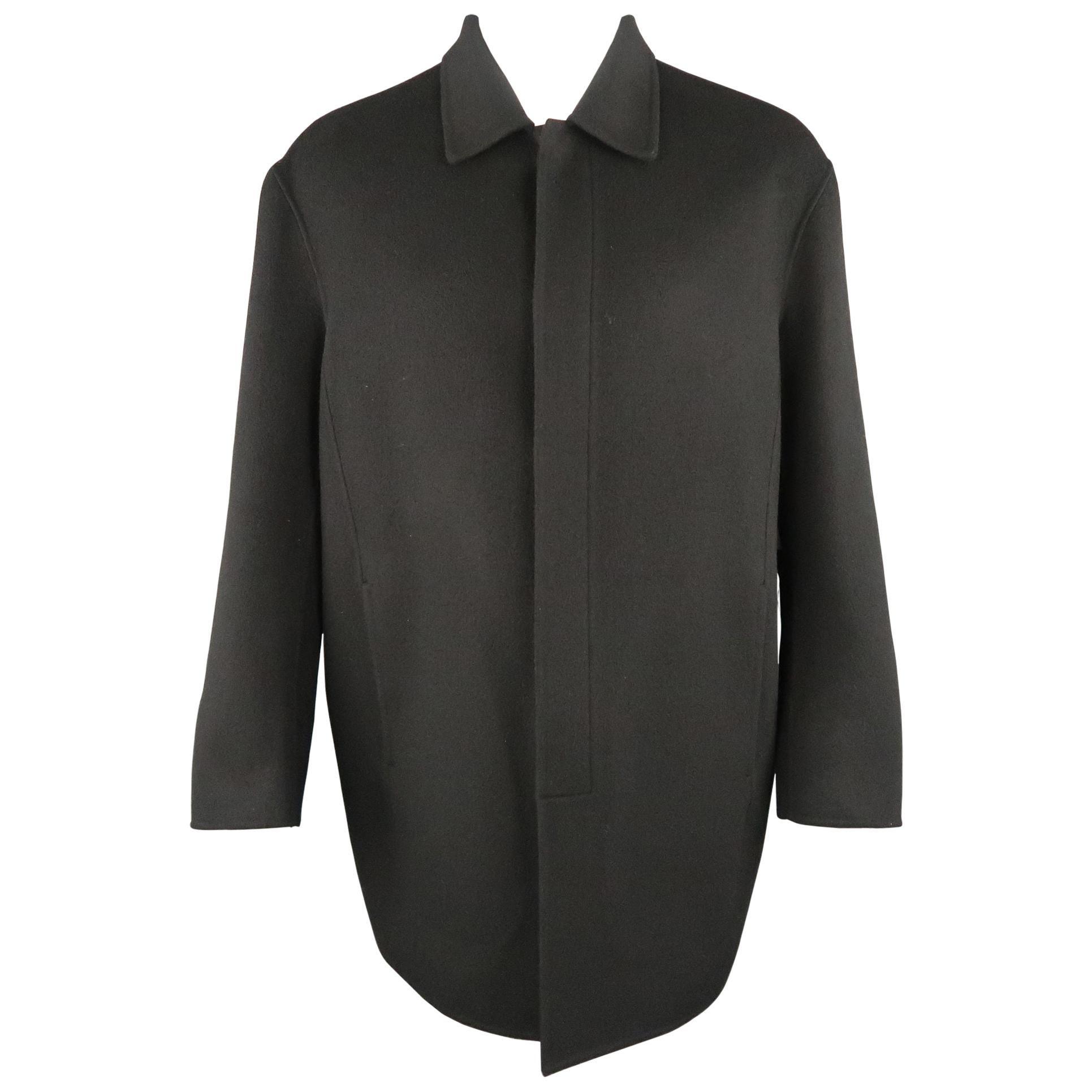 DONNA KARAN M Black Solid Wool / Nylon Hidden Placket Car Coat