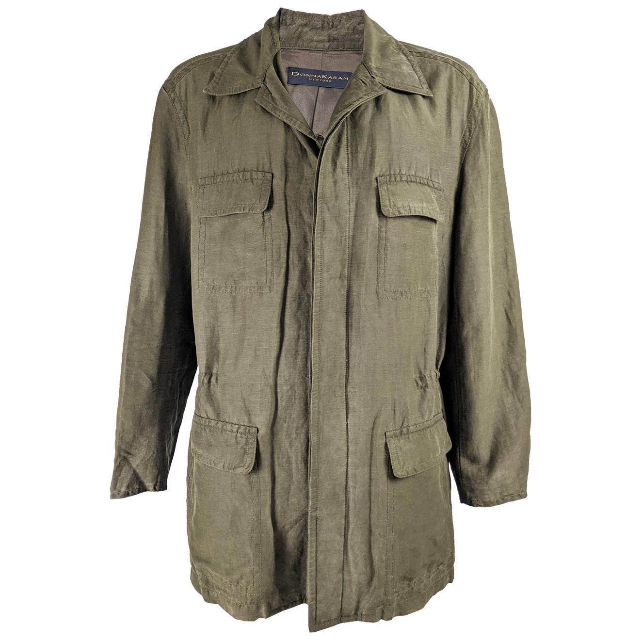 Donna Karan Mens Vintage Green Silk & Linen Coat