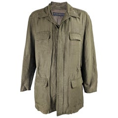 Donna Karan Mens Vintage Green Silk & Linen Coat