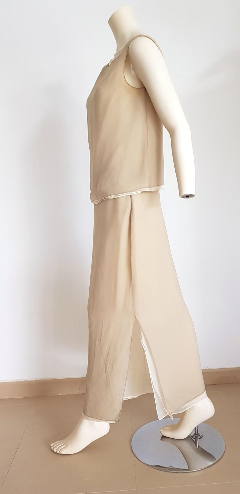 Donna Karan two beige tones, double layer, top and skirt silk dress - Unworn, New  SIZE: equivalent to about Small / Medium, please review approx measurements as follows in cm.  TOP: lenght 52, chest underarm to underarm 50, bust circumference 85,