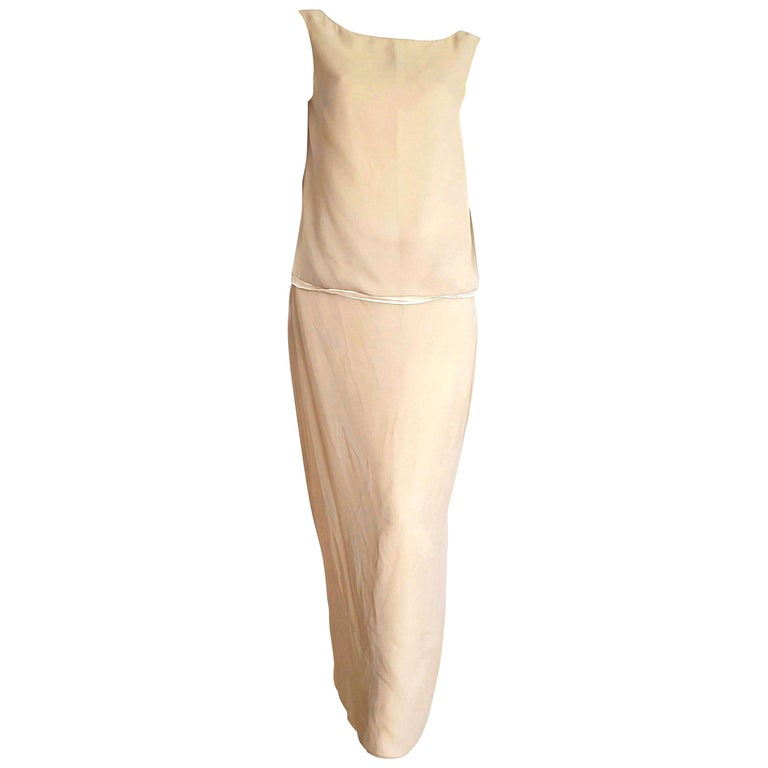 """DONNA KARAN """"New"""" two Beige tones Double layer Top and Skirt Silk Dress - Unworn For Sale"""