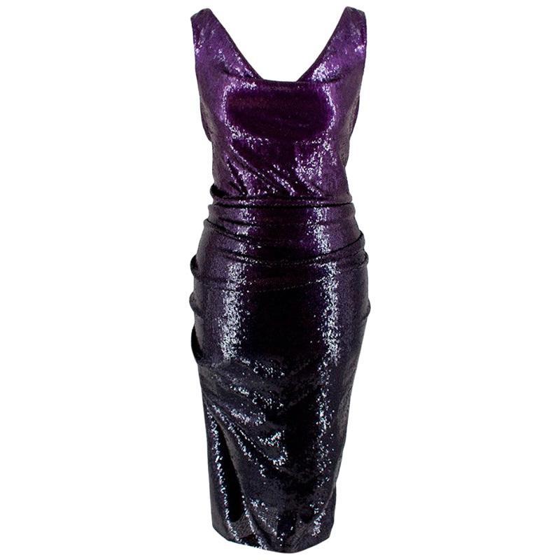 Donna Karan Purple Sequin Cowl Neck Midi Dress - Size US 2