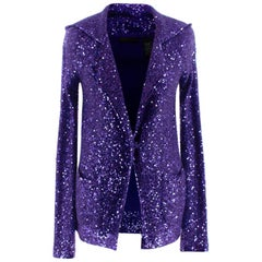 Donna Karan Purple Sequin Hooded Cashmere Cardigan - Size Estimated XS
