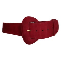 Donna Karan Red Suede Leather Belt w/ Oval Buckle Circa 1990s