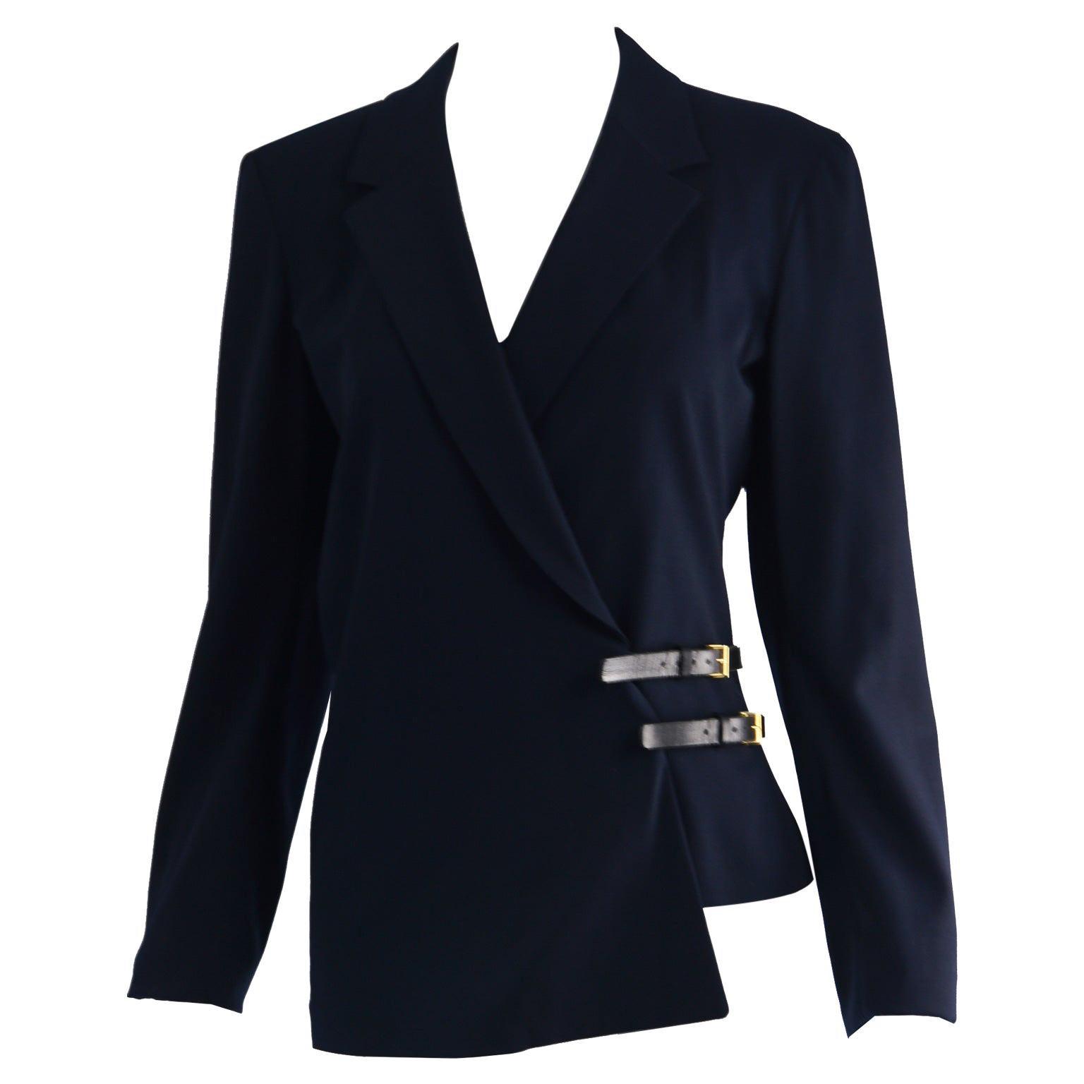 Donna Karan Signature Navy Blue Wool Tailored Jacket with Wraparound Belt