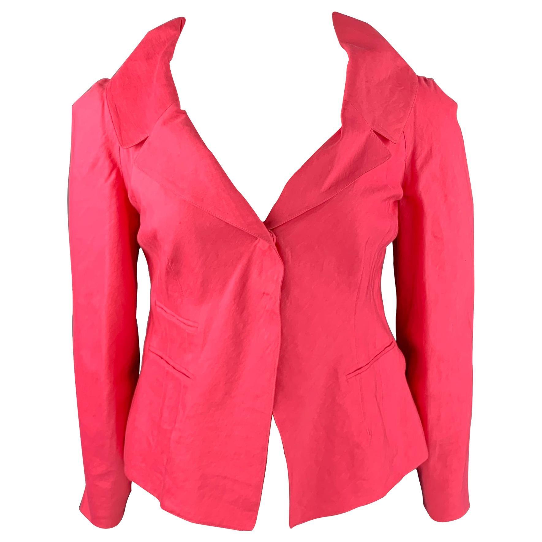 DONNA KARAN Size 10 Pink Linen Blend Notch Lapel Blazer