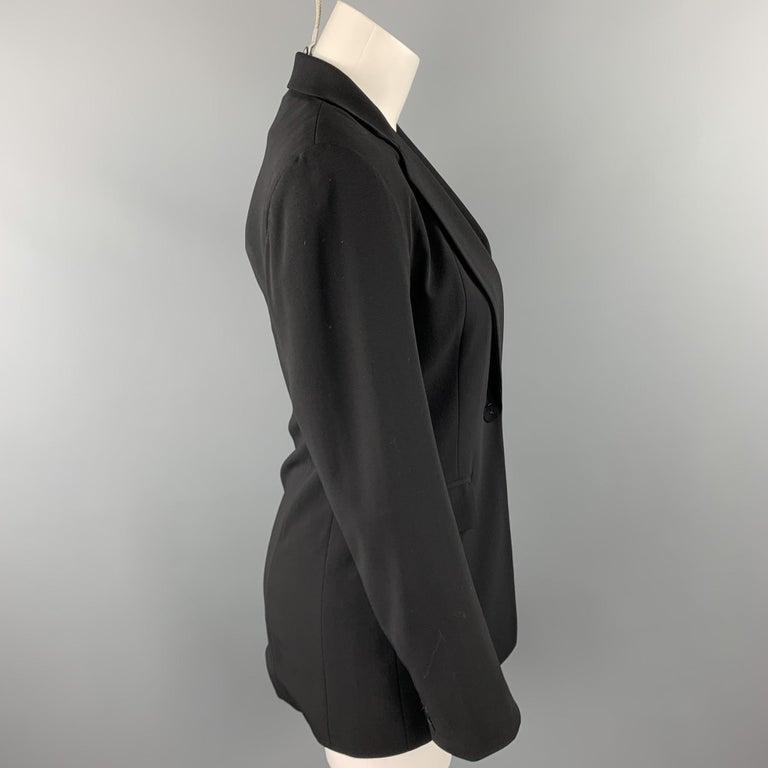 DONNA KARAN Size 2 Black Gabardine Wool Blend Jacket Blazer In Good Condition For Sale In San Francisco, CA