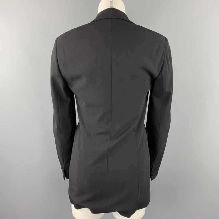 Women's DONNA KARAN Size 2 Black Gabardine Wool Blend Jacket Blazer For Sale