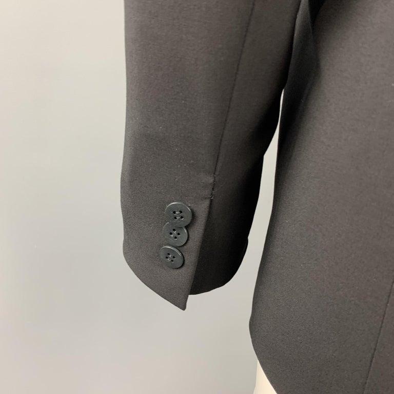 DONNA KARAN Size 2 Black Gabardine Wool Blend Jacket Blazer For Sale 1