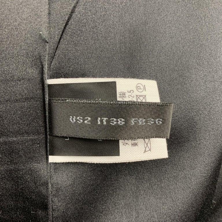 DONNA KARAN Size 2 Black Gabardine Wool Blend Jacket Blazer For Sale 2