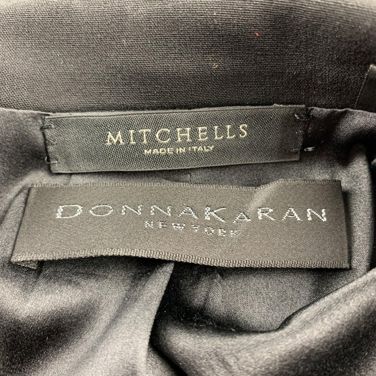 DONNA KARAN Size 2 Black Gabardine Wool Blend Jacket Blazer For Sale 3