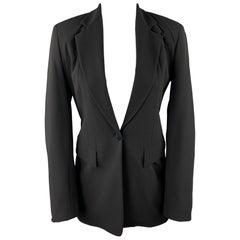DONNA KARAN Size 2 Black Gabardine Wool Blend Jacket Blazer