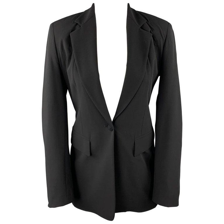 DONNA KARAN Size 2 Black Gabardine Wool Blend Jacket Blazer For Sale