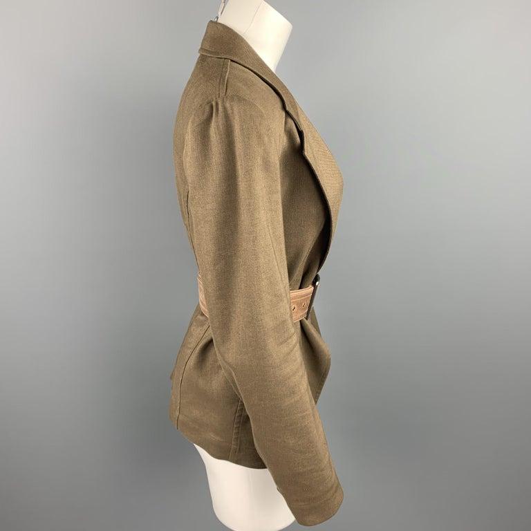 Brown DONNA KARAN Size 4 Olive Twill Wool / Linen Belted Jacket Blazer For Sale