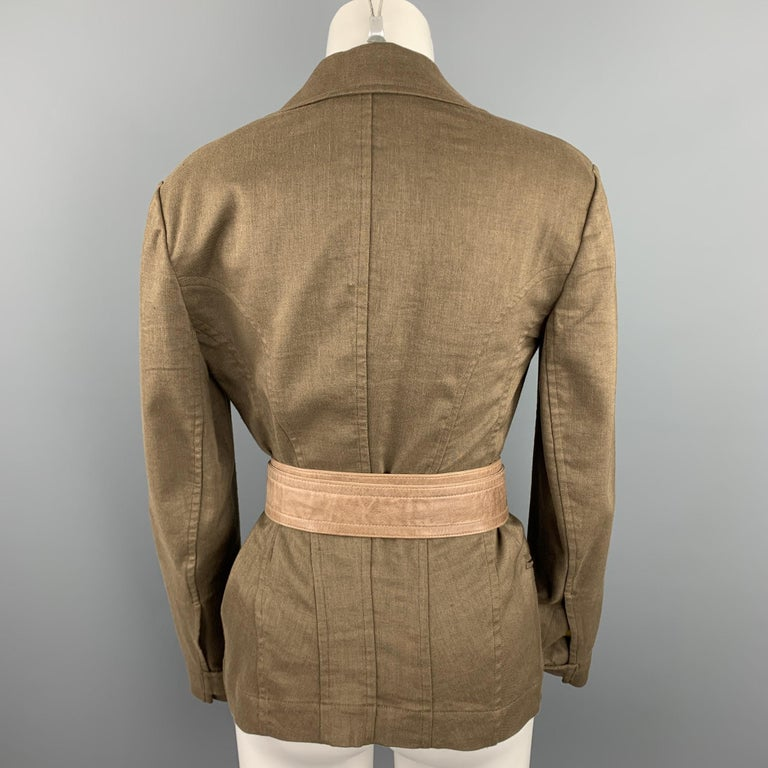 DONNA KARAN Size 4 Olive Twill Wool / Linen Belted Jacket Blazer In Good Condition For Sale In San Francisco, CA