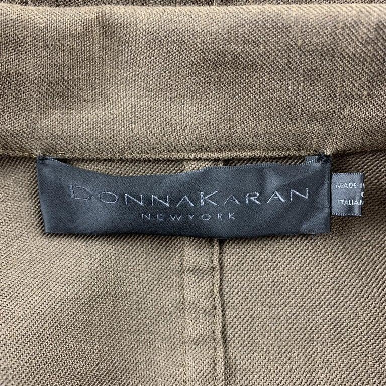 Women's DONNA KARAN Size 4 Olive Twill Wool / Linen Belted Jacket Blazer For Sale