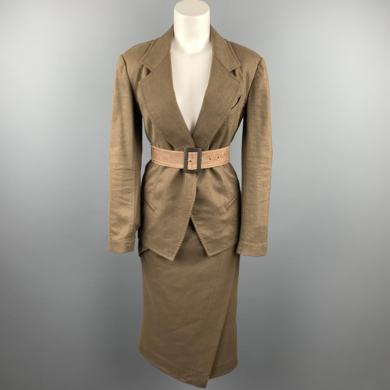 DONNA KARAN Size 4 Olive Twill Wool / Linen Belted Jacket Blazer For Sale 1