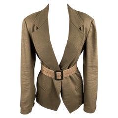 DONNA KARAN Size 4 Olive Twill Wool / Linen Belted Jacket Blazer