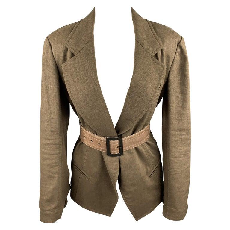 DONNA KARAN Size 4 Olive Twill Wool / Linen Belted Jacket Blazer For Sale