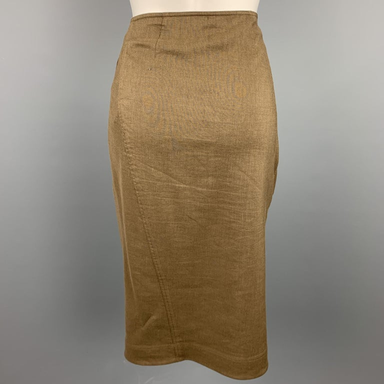 Brown DONNA KARAN Size 4 Olive Twill Wool / Linen Draped Skirt For Sale