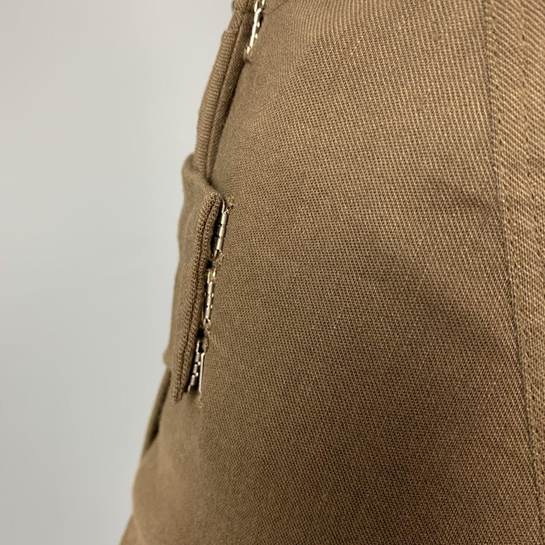 DONNA KARAN Size 4 Olive Twill Wool / Linen Draped Skirt In Good Condition For Sale In San Francisco, CA