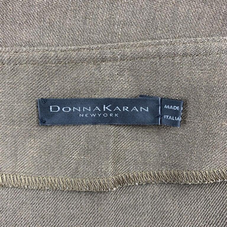 Women's DONNA KARAN Size 4 Olive Twill Wool / Linen Draped Skirt For Sale