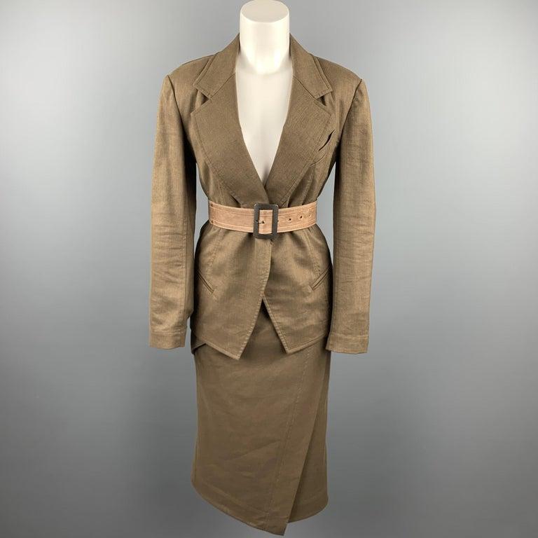 DONNA KARAN Size 4 Olive Twill Wool / Linen Draped Skirt For Sale 1