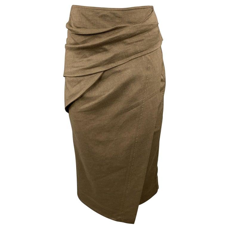DONNA KARAN Size 4 Olive Twill Wool / Linen Draped Skirt For Sale