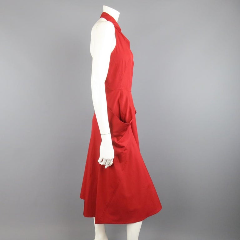 DONNA KARAN Size 4 Red Cotton Halter Top A Lline Shirt Dress In Good Condition For Sale In San Francisco, CA