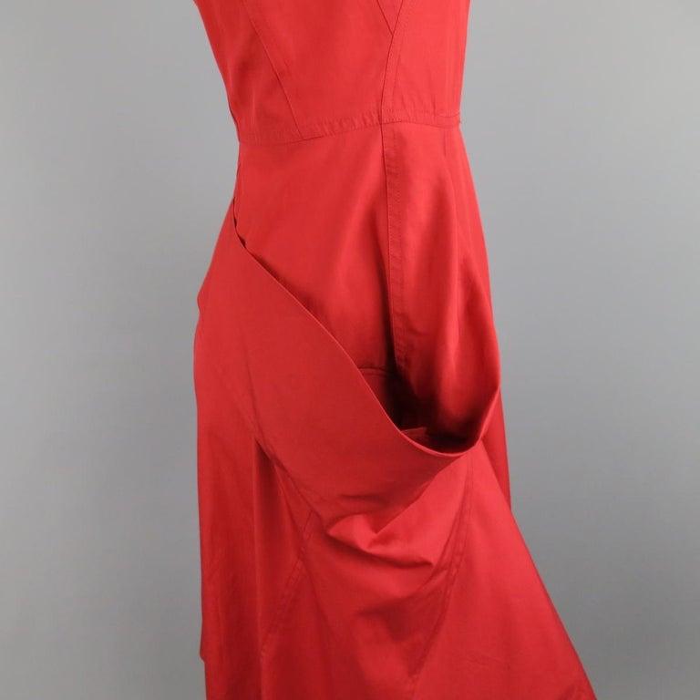 Women's or Men's DONNA KARAN Size 4 Red Cotton Halter Top A Lline Shirt Dress For Sale