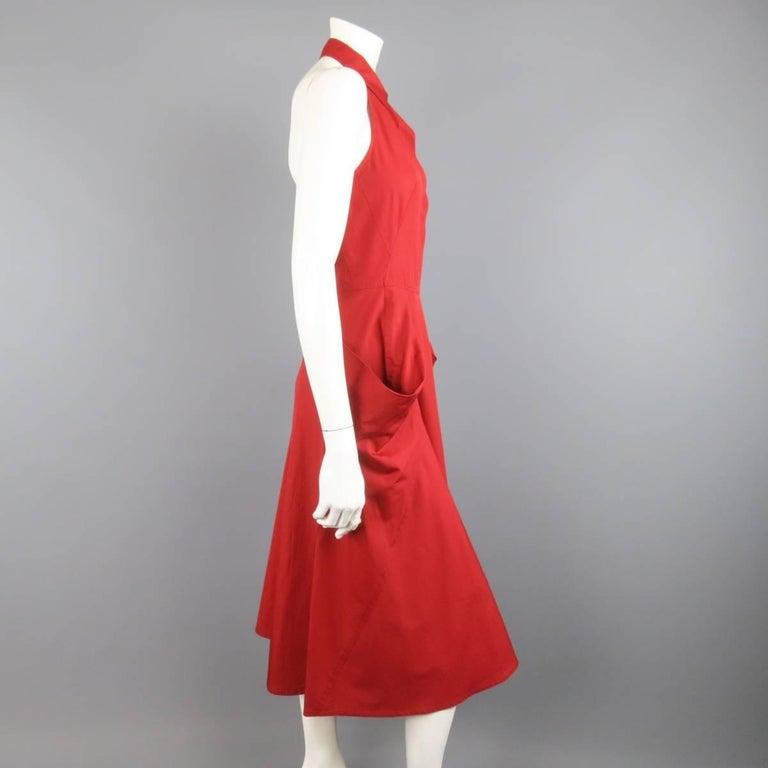 Women's DONNA KARAN Size 4 Red Cotton Halter Top A Lline Shirt Dress For Sale