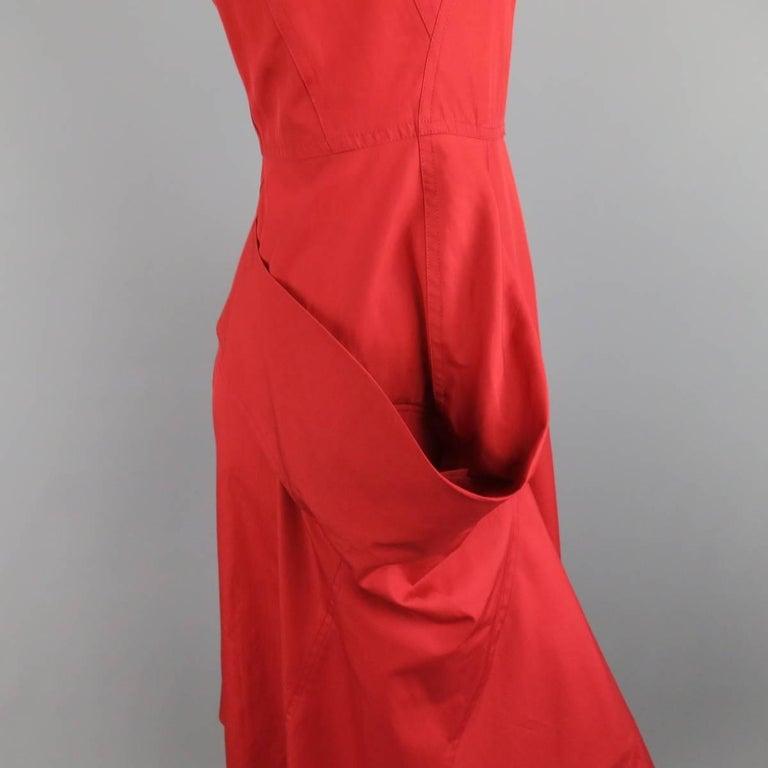 DONNA KARAN Size 4 Red Cotton Halter Top A Lline Shirt Dress For Sale 1
