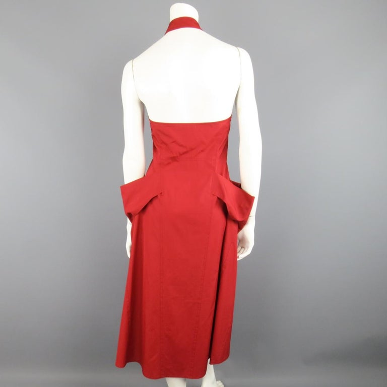 DONNA KARAN Size 4 Red Cotton Halter Top A Lline Shirt Dress For Sale 2