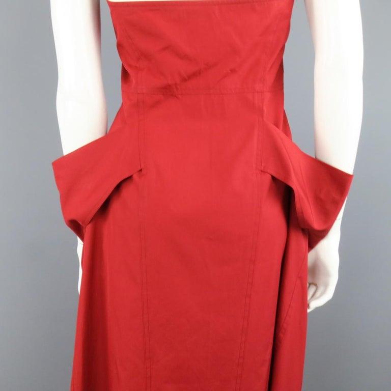DONNA KARAN Size 4 Red Cotton Halter Top A Lline Shirt Dress For Sale 3