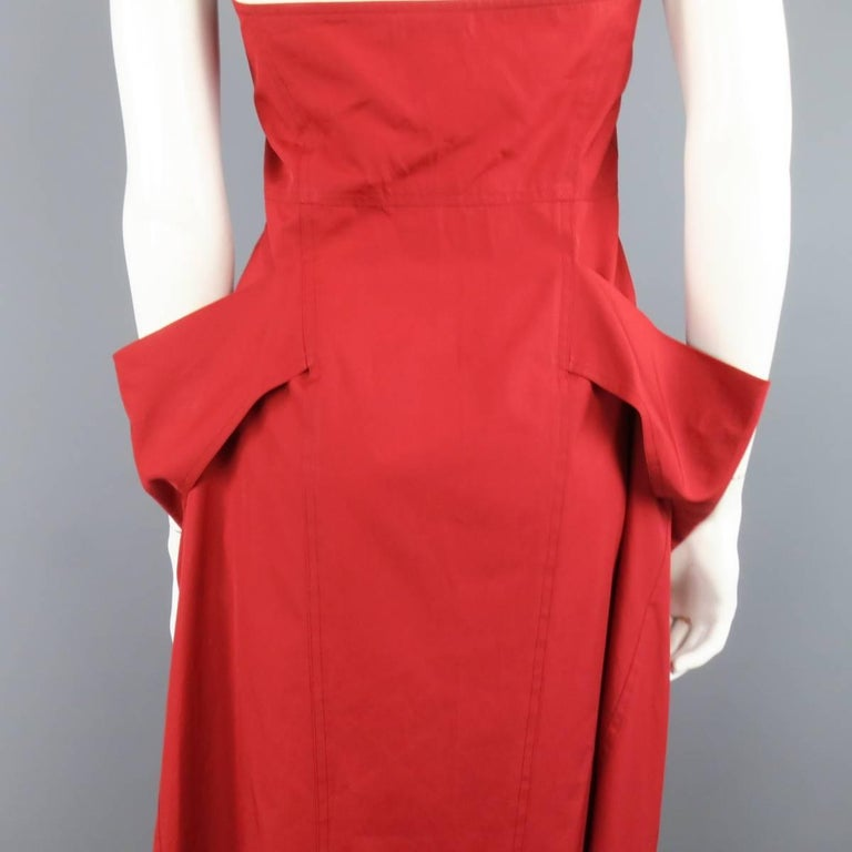 DONNA KARAN Size 4 Red Cotton Halter Top A Lline Shirt Dress For Sale 4