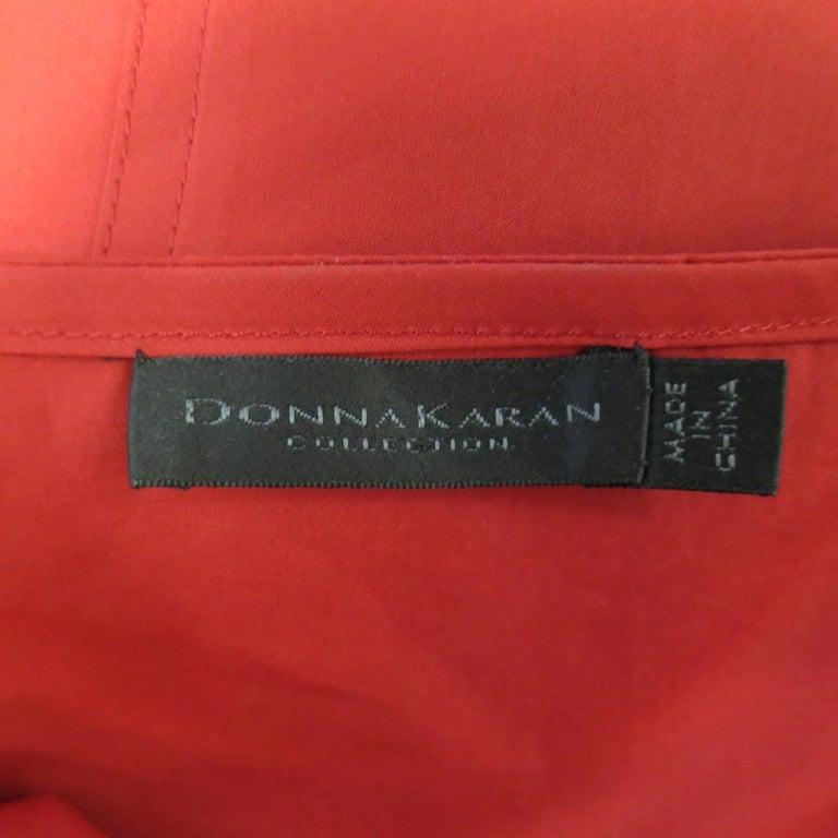 DONNA KARAN Size 4 Red Cotton Halter Top A Lline Shirt Dress For Sale 5