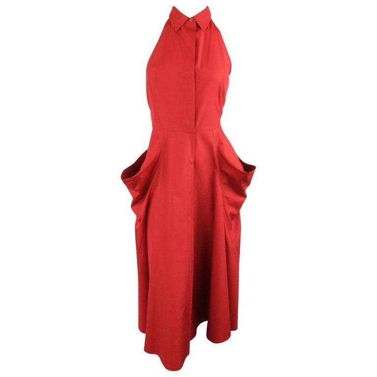 DONNA KARAN Size 4 Red Cotton Halter Top A Lline Shirt Dress For Sale