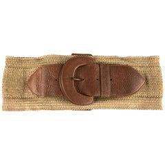 DONNA KARAN Size 4 Woven Beige Leather Buckle Elastic Waist Belt