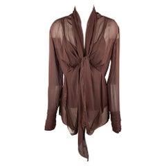 DONNA KARAN Size 6 Burgundy Silk Tie Up Camisole Blouse