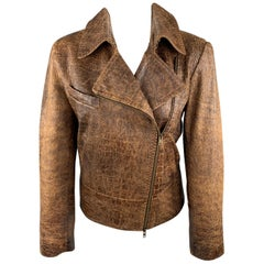 DONNA KARAN Size 8 Brown Embossed Leather Biker Jacket
