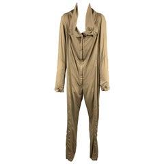 DONNA KARAN Size 8 Olive Khaki Shawl Collar Jumpsuit