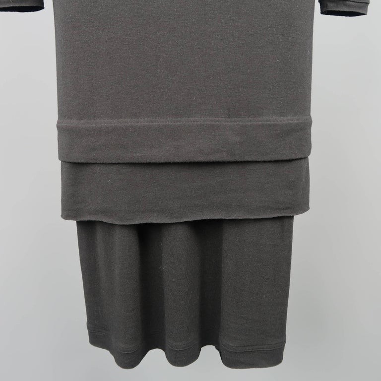 DONNA KARAN Size M Black Layered Jersey Long Sleeve Maxi Sheath Dress In Good Condition For Sale In San Francisco, CA